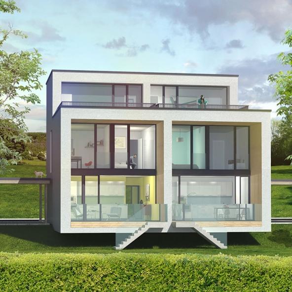 Doppelhaus am Templiner See – Gartenansicht